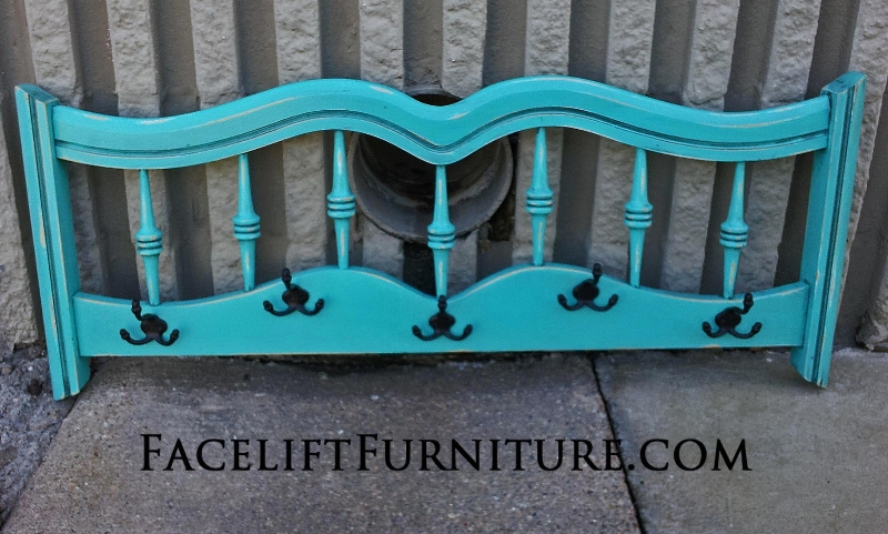 Large Coat Rack in distressed Turquoise with Black Glaze. Re-purposed from twin headboard.