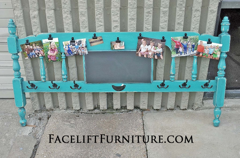 Maple Footboard in distressed Turquoise and Black Glaze, repurposed into a coat rack, photo display and chalkboard!