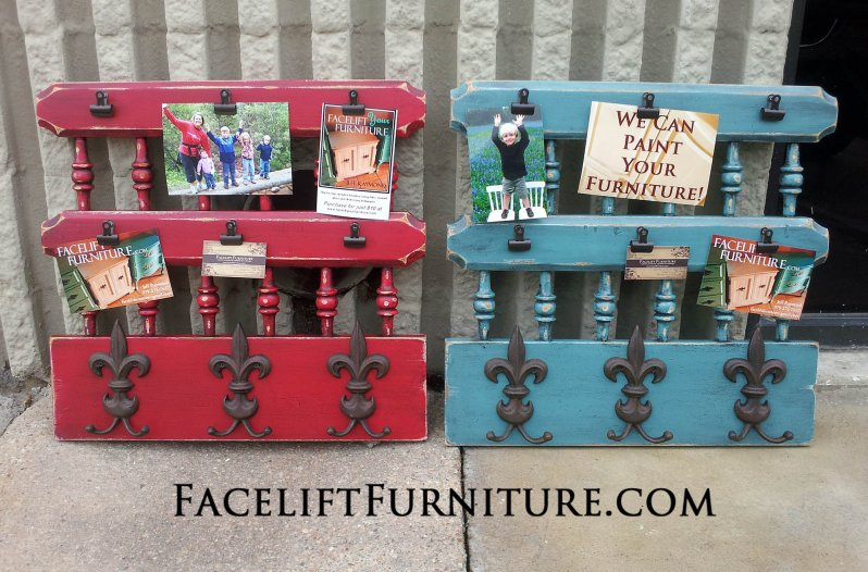 Vintage headboard repurposed into photo display and coat rack. In Barn Red and Sea Blue.