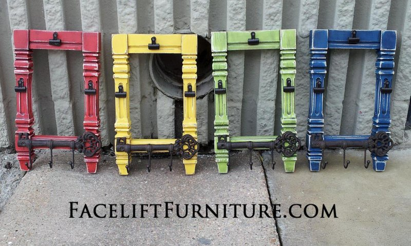 Coffee table corner legs repurposed into photo displays and key chain holders.