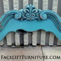 Sea Blue Mirror Frame Top, repurposed into wall accent. From Facelift Furniture's Repurposed Wall Pieces album.