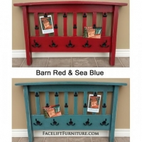 Photo Displays and Coat Racks made from repurposed futon arm rests. In Barn Red or Sea Blue. Black hooks and painted bull dog clips. From Facelift Furniture's Re-purposed Wall Pieces collection.