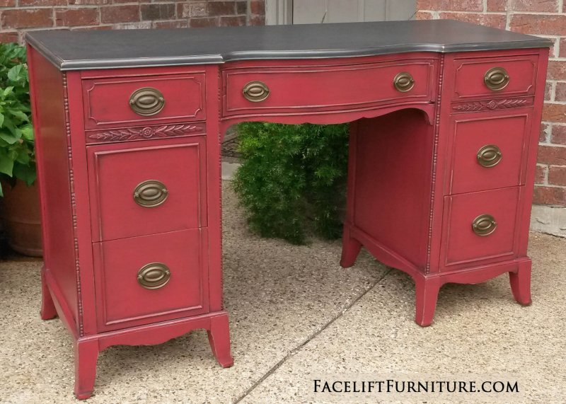 Antique desk in distressed Espresso and Barn Red, with Black Glaze. From Facelift Furniture's Red Refinished Furniture collection.
