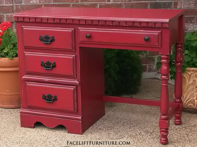 Chunky Desk in distressed Barn Red with Black Glaze. Original pulls painted black. From Facelift Furniture's Red Refinished Furniture collection.