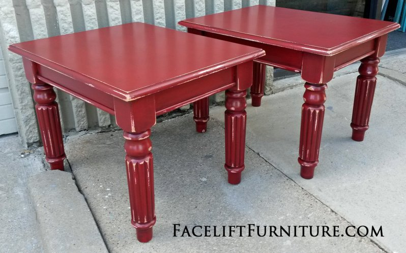 Pine End Tables in Barn Red with Black Glaze, distressed down to White Primer. From Facelift Furniture's Red Refinished Furniture collection.