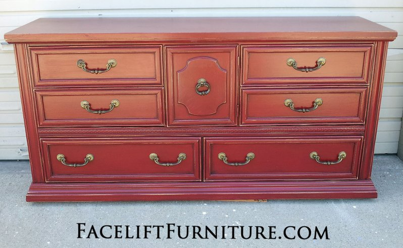 Large Dresser in distressed Chili Pepper Red with Black Glaze. From Facelift Furniture's Red Refinished Furniture collection.