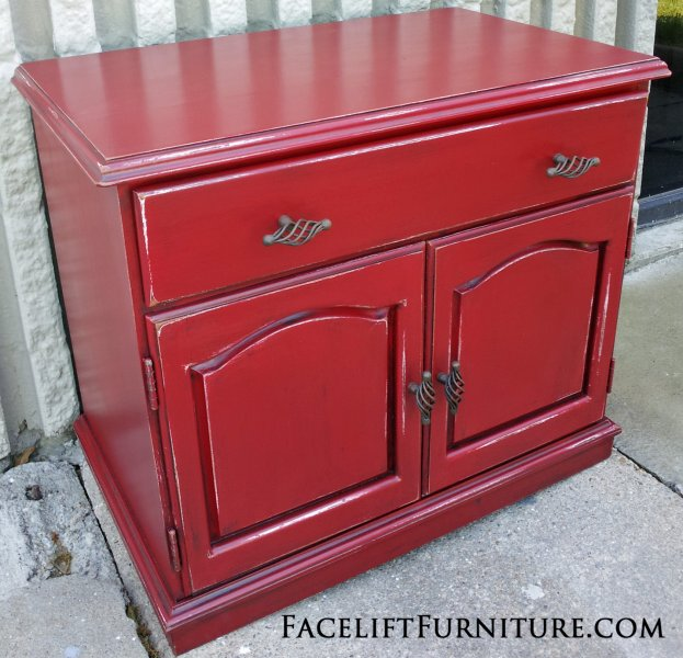 Handmade Nightstand in Barn Red with Black Glaze. From Facelift Furniture's Red Refinished Furniture collection.