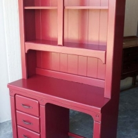 Desk with Hutch in Barn Red with Black Glaze. From Facelift Furniture's Red Refinished Furniture collection.