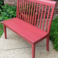 Bench in distressed Barn Red with Black Glaze. From Facelift Furniture's Red Refinished Furniture collection.