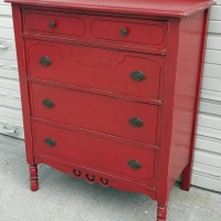Antique Chest of Drawers in Barn Red with Black Glaze. Original pulls. From Facelift Furniture's Red Refinished Furniture collection.