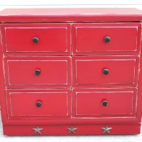 Dresser in distressed Barn Red, with Black Glaze. From Facelift Furniture's Red Refinished Furniture collection.