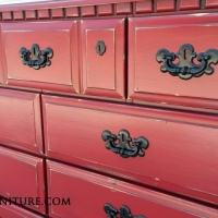 Tall Dresser in distressed Barn Red with Black glaze. Original pulls painted black. From Facelift Furniture's Red Refinished Furniture collection.