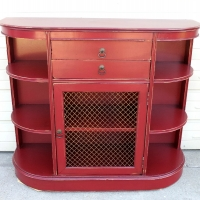 Entry Piece custom painted Chili Pepper Red, with Black Glaze highlighting detailed areas. From Facelift Furniture's Red Refinished Furniture collection.