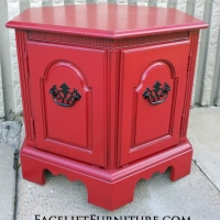 Hexagon End Table in Barn Red with Black Glaze. From Facelift Furniture's End Tables collection.
