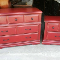 Matching dresser & nightstand upstyled in Barn Red, with Black Glaze. New Hardware. From Facelift Furniture's Red Refinished Furniture collection.