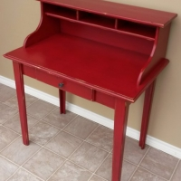 Secretary in distressed Barn Red with Charming Pine Secretary in distressed Barn Red with Black Glaze. From Facelift Furniture's Red Refinished Furniture collection.