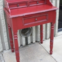 Small Secretary in Barn Red with Black Glaze. From Facelift Furniture's Red Refinished Furniture collection.