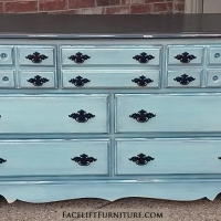 Dresser in distressed Robin's Egg Blue & Black, with Black Glaze. Original pulls painted black. From Facelift Furniture's Robin's Egg Blue Furniture collection.