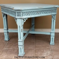 Large Ornate End Table in Robin's Egg Blue with Black Glaze, distressed down to white primer. From Facelift Furniture's Robin's Egg Blue Furniture collection.