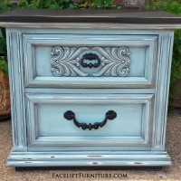 Ornate Nightstand in distressed Robin's Egg Blue with Black Glaze and Black top and bottom. From Facelift Furniture's Robin's Egg Blue Furniture collection.