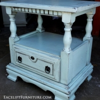 Chunky nightstand in distressed Robin's Egg Blue with Black Glaze. From Facelift Furniture's Robin's Egg Blue Furniture collection.