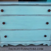 Antique Cherry Dresser in Robin's Egg Blue, with Black Glaze accenting detailed areas. From Facelift Furniture's Robin's Egg Blue Furniture collection.