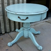 End Table custom painted in distressed Robin's Egg Blue, with Black Glaze. From Facelift Furniture's Robin's Egg Blue Furniture collection.