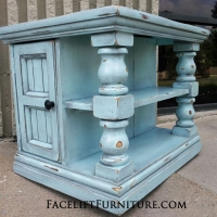 Chunky End Table distressed Robin's Egg Blue with Black Glaze.  Shelves and storage area behind double doors. From Facelift Furniture's Robin's Egg Blue Furniture collection.