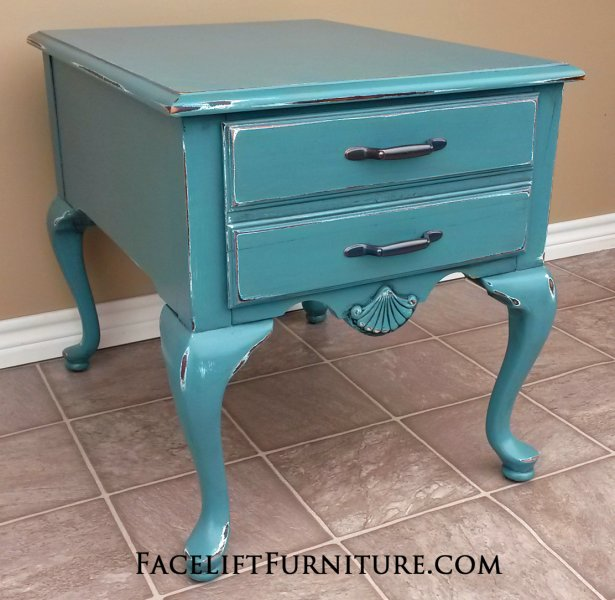 French End Table in Sea Blue with Black Glaze, distressed down to white primer.  New pulls. From Facelift Furniture's Sea Blue Furniture collection.