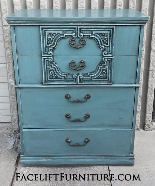 Ornate Vintage Chest in Sea Blue with Black Glaze, distressed down to  white primer. From Facelift Furniture's Sea Blue Furniture collection.