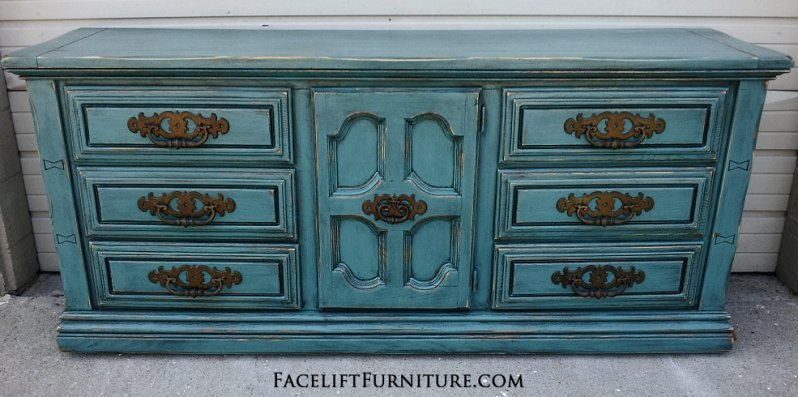 Large Dresser in distressed Sea Blue with Black Glaze. From Facelift Furniture's Sea Blue Furniture collection.