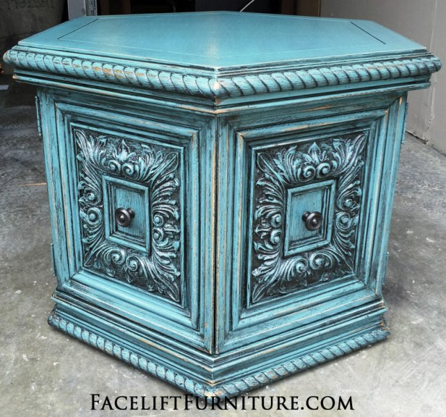 Ornate Sea Blue Hexagon End Table with Black Glaze. From Facelift Furniture's Sea Blue Furniture collection.