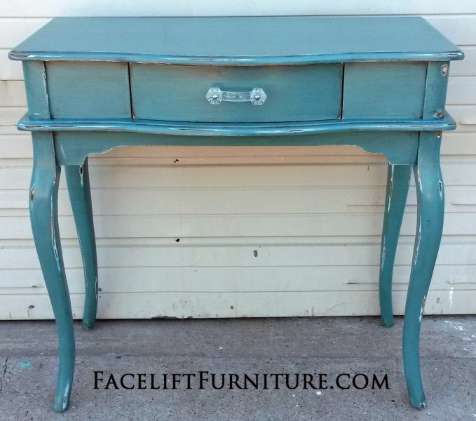 Sea Blue Vanity Desk, with Black Glaze. Distressing reveals white primer. New hardware. A great height for laptop or computer. From Facelift Furniture's Sea Blue Furniture collection.