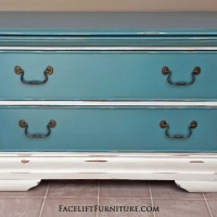 Low Chest in distressed Sea Blue and Off White with Espresso Glaze. Original pulls. Originally the base of an armoire.  From Facelift Furniture's Sea Blue Furniture collection.