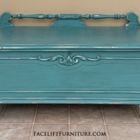 Ornate Lane Cedar Chest in Sea Blue with Black Glaze. Distressing reveals heavy white primer. From Facelift Furniture's Sea Blue Furniture collection.