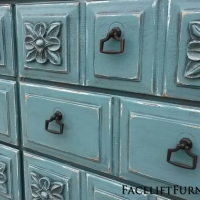 Ornate Dresser in Sea Blue with Black Glaze. New pulls. From Facelift Furniture's Sea Blue Furniture collection.