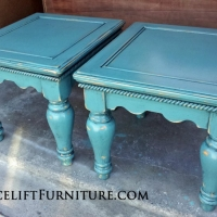 Chunky Pine End Tables in distressed Sea Blue with Black Glaze. From Facelift Furniture's Sea Blue Furniture collection.