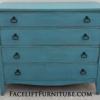 Antique Dresser in distressed Sea Blue with Black Glaze.  New pulls. From Facelift Furniture's Sea Blue Furniture collection.