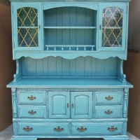 Large Hutch in distressed Sea Blue with Black Glaze.  Original hardware.  From Facelift Furniture's Sea Blue Furniture collection.
