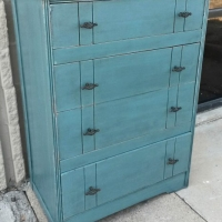 Vintage Chest of Drawers in distressed Sea Blue with Black Glaze. New pulls. From Facelift Furniture's Sea Blue Furniture collection.