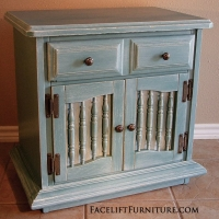 Distressed Seablue Nightstand with White Glaze. From Facelift Furniture's Sea Blue Furniture collection.