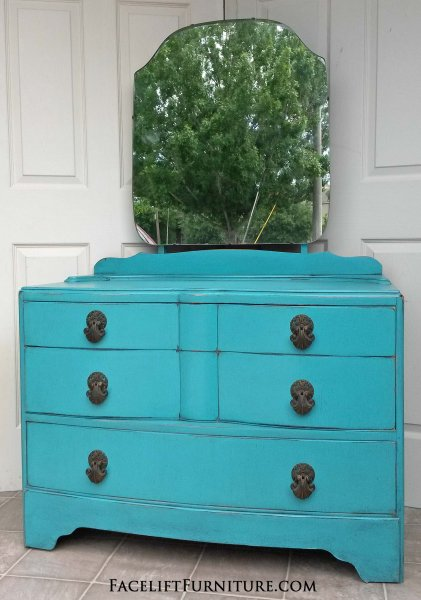 Antique Vanity Dresser with Mirror. In distressed Turquoise with Black Glaze. Original vintage pulls. From Facelift Furniture's Turquoise Refinished Furniture collection.