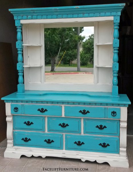 Chunky Dresser with Mirror Hutch in distressed Off White & Turquoise with Black Glaze. Original pulls painted black. From Facelift Furniture's Turquoise Refinished Furniture collection.