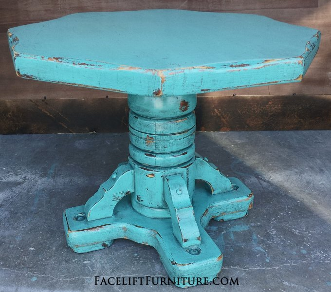 Rustic Turquoise Pedestal End Table with Black Glaze.