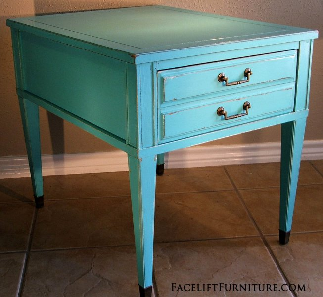 Turquoise Federal End Table.