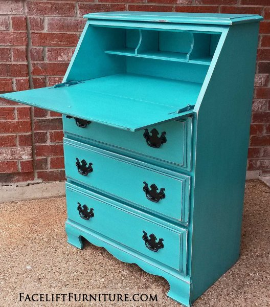 Drop down Secretary Desk in distressed Turquoise with Black Glaze. Vintage pulls painted black. From Facelift Furniture's Turquoise Refinished Furniture collection.