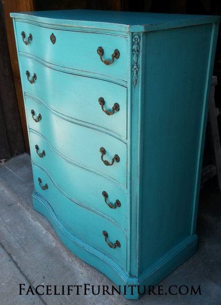 Antique Chest of Drawers in Turquoise with Black Glaze. Original pulls. From Facelift Furniture's Turquoise Refinished Furniture collection.