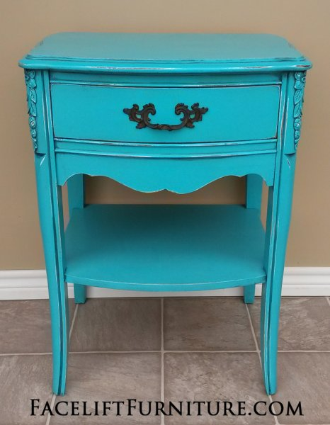 French Provincial Nightstand, in distressed Turquoise with Black Glaze, over white primer.