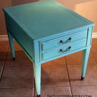 Turquoise Federal End Table. From Facelift Furniture's Turquoise Refinished Furniture collection.