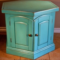 Turquoise Hexagon End Table. From Facelift Furniture's Turquoise Refinished Furniture collection.